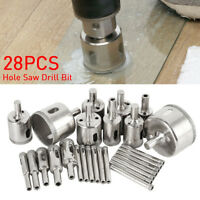 28pc Diamond Cutter Hole Saw Drill Bits Tool 6-50mm Set For Tile Ceramic Glass.