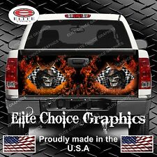 Race Cowboy Skull Flames Truck Tailgate Wrap Vinyl Graphic Decal Sticker Wrap