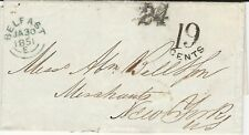 Northern Ireland, 1851 Stampless Cover, with Letter, Belfast to New York City