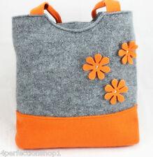 Bag Handbag Grey Orange Flowers New Hand Handmade Top Design Eco Felt Womens