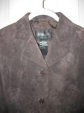 BRANDON THOMAS Chocolate Brown Suede Jacket Blazer ~ Size S ~ Excellent!