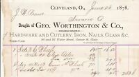 U.S. Bought of Geo. Worthington & Co 1878 Hardware, Glass Etc Receipt Ref 38375