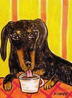 BLACK TAN DACHSHUND coffee dog art Mug coffee cup 11 oz
