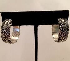 STERLING SILVER SOLID HOOPS FLORAL DESIGN, By OCTAVIA signed Large Size Pretty !