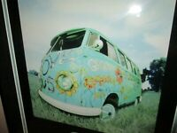 VW Love Bus Picture in advertising for Zaditor High Quality Frame Groovy Flower
