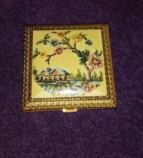 Victorian Style Compact Vintage Needlepoint   Makeup Powder Case