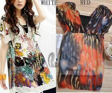 Chiffon Short Sleeve Floral Tops for Women