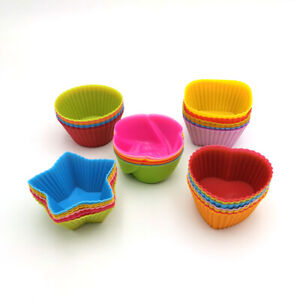 Silicone cups for muffins & cakes IN 6 SHAPES_VARIOUS COLOURS OVER 300 sold (UK)