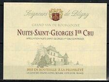 Etiquette de Vin-Bourgogne - Nuits St. Georges 1°Cru -New-Never Stuck -Réf.n°226