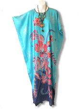Turquoise Floral Plus Size Caftan Kaftan Tunic Hippy Maxi Dress - L, XL, 1X & 2X