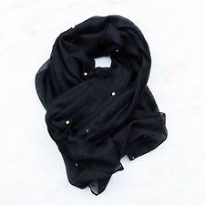 Brand New Black Pearl Soft Silky Scarf Hijab 100% Viscose Fabric