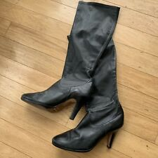 Cole Haan Black Stretch Leather Knee High  Boots Size 8.5 B