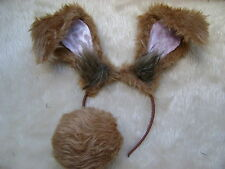 Floppy Rabbit Ears Mad March Hare Rabbit Ears & Bob Tail Light Brown Fancy Dress