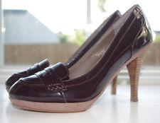 "Colin Stuart Brown Patent Pumps Heels 9 Round Toe 4"" Heel Dress Shoes Loafer"