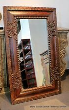 """36"""" W 60"""" H Vintage mirror Hand carved frame Solid reclaimed wood spectacular"""