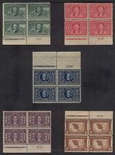 US #323 - 327 LOUISIANA PURCHASE COMPLETE SET OF 5 MINT PLATE BLOCKS OG NH 1904