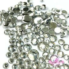 400 pcs 2mm - 6mm Resin clear crystal round Rhinestones Flatback Mix SIZE