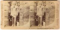 Egipto Estatua Ramses II Luxor Foto PL54L2n Estéreo Albúmina 1896