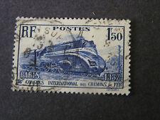 *FRANCE, SCOTT # 328, 1.59fr. VALUE DK ULTRA 1937 STREAMLINED LOCOMOTIVE USED