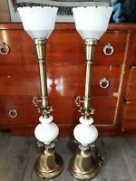 "Rare Matching Set of 2 Vintage 34.5"" Porcelain & Brass Stiffel* Torch Lamps"