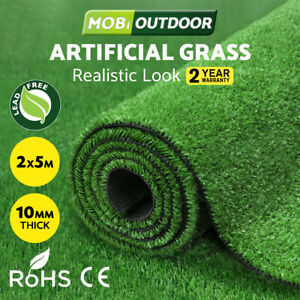 MOBI OUTDOOR Artificial Grass Synthetic Fake Turf 2M x 5M Plastic Olive Lawn