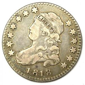 1818 Capped Bust Quarter 25C - VF Details - Rare Early Date Coin!