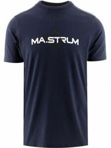 MA.STRUM Men's Short Sleeve Logo Print T-Shirt Cotton Navy Casual Crew Neck Top