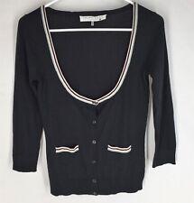 TRINA TURK Black Cardigan Sweater Size Small Cashmere Blend Soft Scoop Neck