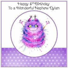 Handmade Personalised Birthday Card ANY AGE Boys Childs Monster Alien