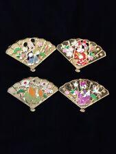 Japan Disney Store Omikuji Mickey Minnie Goofy Daisy Kimono Lucky Fan 4 Pin Set