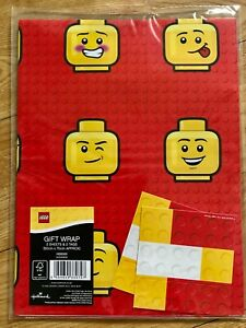 Lego Red Birthday Wrapping Paper (Inc 2 Sheets & 2 Tags)