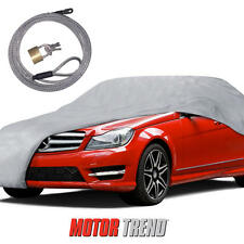 "MotorTrend Multi Layers Car Cover UV Snow Rain Water Proof (157"") w/ Secure Lock"
