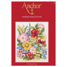 ANCHOR MEADOW FLOWERS COUNTED CROSS STITCH KIT PCE961 FLORAL POPPIES - NEW