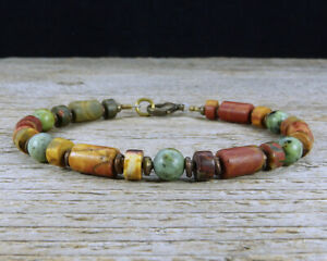 Jasper and African Turquoise Mens Bracelet with African Brass Spacers