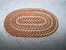 1:12 Dollhouse Miniature Vintage Artisan Made Oval Rag Rug Multi Color Browns
