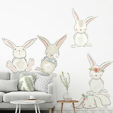 Bunny Wall Stickers Nursery Children's Bedroom Baby Floral Rabbit Decals