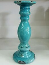 Tall rustic style turquoise / blue glazed Candle Holder - home deco rrp $49.95