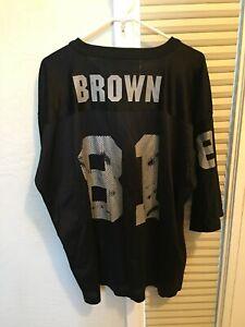 Vintage Tim Brown #81 NFL LA Oakland Raiders Starter Black Jersey Shirt Large 48
