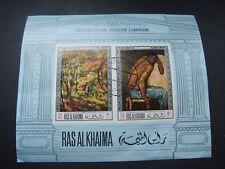 Ras Al Khaima 1968 International Museum Campaign Miniature Sheet Used