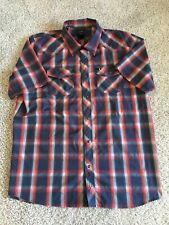 The North face Mens red blue plaid checker snap button up short sleeve size L