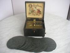 Polyphon mit 21 Platten16,4cm Spieldose Spieluhr Kalliope Uhr music box 21 discs
