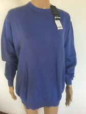Woolovers Ladies Alpine Blue Cashmere & Cotton Jumper - Large - NEW