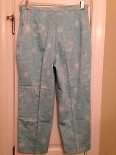 'Van Heusen Woman' Blue Cotton Blend Floral Capris Pants - Size 12 - EUC