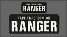 Law enforcement ranger embroidery Patches 4x10 and 2x5 hook ON BACK white
