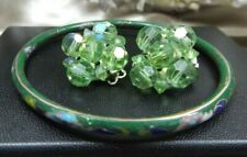 Vintage Costume Set Green Cloisonne Bangle & Peridot Crystals Cluster Clip on