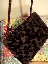 flocked velvet chocolate brown evening bag clutch  shoulder cosgrove & beasley
