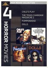 New! 4 Horror Film DVD Set: Child's Play Texas Chainsaw Massacre 2 Pumpkinhead