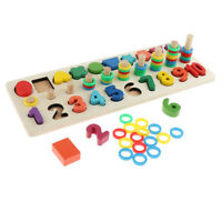 Wooden Shape Number Blocks Sorting Counting Stacking Matching Mathematic Toy