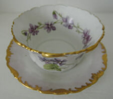 Antique T&V France Depose Porcelain Hand Painted Violets Bowl w/ Attached Plate