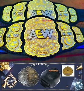 AEW World Heavyweight Championship wrestling leather Belt 4MM NEW